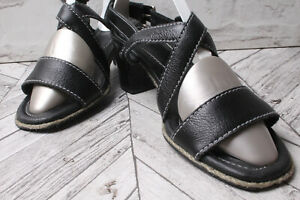 CLARKS K SHOES Leather Party Sandals RRP £79 Black Block Heel Summer Beach 37 4