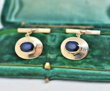 Vintage Custom made 2ct Sapphire Cufflinks made from 18ct gold 9.17g #R231