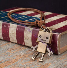 Vintage Robot Pendant Adjustable Real Leather Cord Mens Choker Necklace Chain