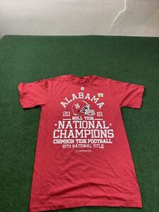 ALABAMA CRIMSON TIDE 2015 NATIONAL CHAMPIONS ROLL tide RED - Small T-SHIRT NEW