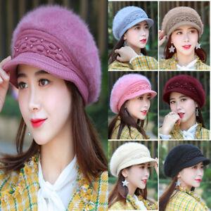 Women Winter Warm Knit Hat Crochet Slouchy Baggy Peaked Beanie Cap Adient Xmas