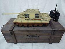 Torro 1/16 RC infrarossi IR GERMAN JAGDTIGER SERBATOIO Desert 2.4ghz con scatola in legno