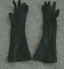 Vintage Opera Length Brown Leather Gloves Size 100% Silk Lined Made in Italy