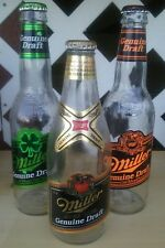 3 Miller Genuine Draft Bottles - Green, Orange & Reg. Labels