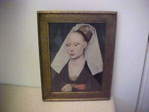 VINTAGE LADY PRINT (PEASANT LADY?) IN ANTIQUE PICTURE FRAME