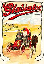 Gladiador ciclos-automóviles Ciclo Bici Bicicleta Deco cartel impresión
