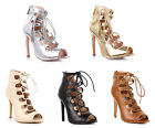 Lace Up Back Zipper Open Toe Sexy Dress High Heel Sandals Womens Casual Shoes