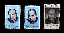 # AUSTRALIA NUOVA ZELANDA USA - W.Churchill Nobel History - 3 Stamps MNH
