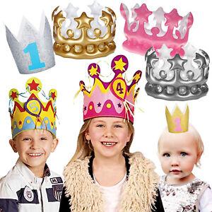 GEBURTSTAGSKRONE + ZAHLEN - Kindergeburtstag Kinder 1.Geburtstag Krone Party Hut