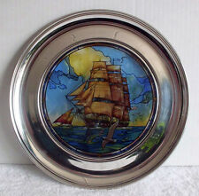"1st ISSUE, STAINED GLASS PLATE ""OLD IRONSIDES"" GREAT AMERICAN SHIPS J. WOODSON"