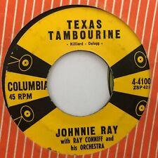 "JOHNNIE RAY TEXAS TAMBOURINE /  PINK SWEATER ANGEL VINTAGE 1957 POP 7"" VINYL"