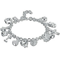925 Sterling Solid Silver Charm Bangle Fashion Bracelet