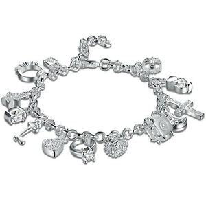 925 Sterling Solid Silver Charm Bangle Fashion Bracelet