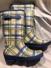 LL Bean Wellies Blue Green Plaid Rubber Rain Boots Women's 11 Yellow Pink Accent