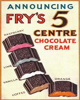 Frys 5 Centre Chocolate Cream Advert VINTAGE ENAMEL METAL TIN SIGN WALL PLAQUE