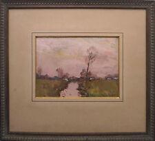 Tableau Paysage 1924 crépuscule rivière - René DE BAUGNIES (1869-1962) + Cadre
