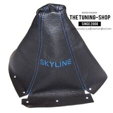 Convient Nissan Skyline R33 Gts GTR 1993-1998 Leather Gear Stick Gaiter Blue Embroid
