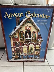 """Wooden Advent Calendar 24 Doors Victorian House Stand Alone #663167 Approx 23"""""""