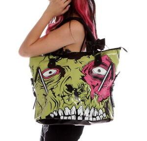 IRON FIST Zombie Chomper Tote Bag Handbag Purse Skull Punk Gothic Green RARE NWD
