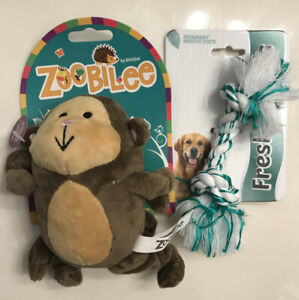 "Petmate Dog Toys Zoobilee 1-Stretchies 5"" Monkey & 1-Fresh 'N Floss Spearmint"
