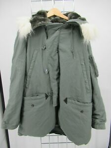 H2051 VTG USA ARMY Flyers N-3B Could Weather Fur Hood Military Parka Jacket M