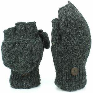 Wool Gloves Mittens Fingerless Shooter Lined PLAIN Knit Handmade LoudElephant