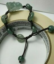 100% Natural Genuine Burmese Jadeite Jade Adjustable Woven PiXiu Bracelet A#666