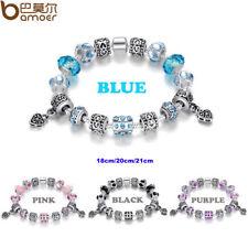 Pulsera con charms chapada en plata con colgante corazón, azul, rosa, morado