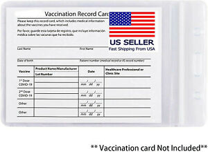 WATERPROOF CDC Zip Vaccination Card Holder Record 4 x 3 Protector vaccine sleeve