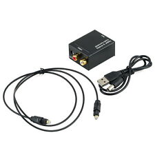 Digital Optical Toslink Coax to Analog L/R RCA Audio Converter Adapter +Cable DE