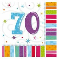 16 X 3ply Paper Napkins Serviettes 70th Birthday Party Catering Supplies