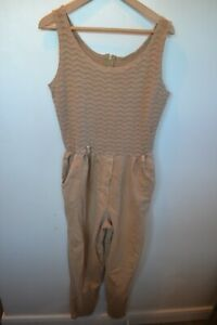 Vintage 80's Nina Piccalino beige cotton Jump suit size 12 summer made USA