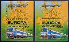 Hongrie, bloc n°141 dentelé et non dentelé neufs, trains, exposition Iva'79 1979