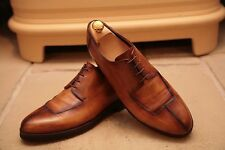 BERLUTI Men's handmade BRUNITA TAN BROWN IN PELLE DERBY Scarpe UK 8.5