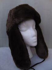 4aeb47fc61603 Nine West Faux Fur Fleece Lined Trooper Hat  46 Brown Soft Warm Winter Style