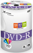 100 Xlayer DVD-R Rohlinge 4,7Gb 16x Bedruckbar Bulk 100er Shrink Ink Printable