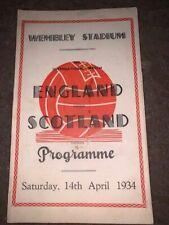 More details for england v scotland international match souvenir prog at wembley 14th april 1934