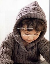 (402) Child's Cable and Rib Sweater with Hood Knitting Pattern, 1-4yrs