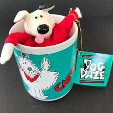 "Vintage Dog Daze Coffee Mug with Dog Plush Toy ""Did Somebody Say Caffeine?"""