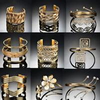 Bridal Gold Plated Open Adjustable Crystal Arm Bracelet Armlet Bangle Cuff