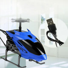 Flying Mini Drone Infrared Induction Helicopter Flashing Light UFO USB Toys Blue