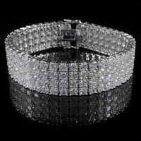 18K White Gold Plated 4 Row Prong Set CZ Bling Out Iced Silver Tennis Bracelet