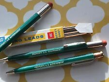 3 Vintage Scripto GREEN Mechanical Pencil ~ PROPERTY OF US GOVERNMENT W/LEAD