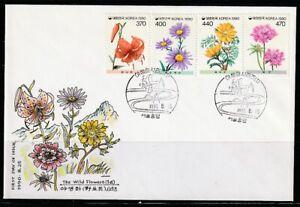 Korea   1990   Sc # 1597-600   Wild Flowers Series #1   FDC   (0230)