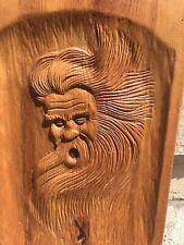 Vintage 1995 Carved Wooden Wind Man Plaque Signed Outdoor Garden 15� x 9-1/4�