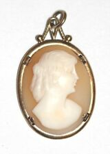 Vintage carved shell cameo sterling silver pendant