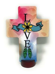 """Colorful LOVE CROSS 5.25"""" x 7"""" Stand Included For Shelf Can Also Be Hung On Wall"""