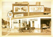 POST CARD OF OLD CITY GAS STATION FROM 30'S WITH NEAT ADVERTISING SIGNS