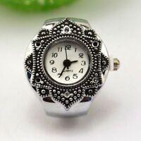 Creative Cute Girls Tibet Silver Petal Flower Quartz Fingers Ring Watch Jewelry