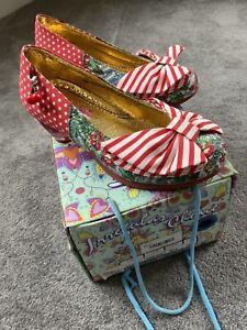 BNIB Irregular Choice Trinkletina Low - Red White Low Heeled Shoes - Size 5 / 38